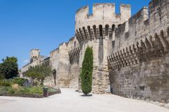 Medieval security wall surrounding Avignon. Avignon is the historic center, which includes the Palais des Papes, the cathedral, and the Pont d`Avignon, became royalty free stock images