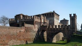 Medieval Sforzesco Castle. In Soncino Italy Stock Photos