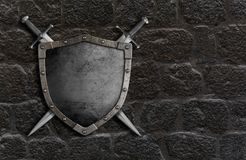 Medieval shield with crossed swords on castle stone wall 3d illustration vector illustration