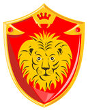 Medieval shield with lion. Vector art of a Medieval shield with lion royalty free illustration
