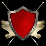 Medieval shield with scroll and spears on black background. Royalty Free Stock Photos