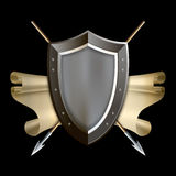 Medieval shield with scroll and two spears. Royalty Free Stock Photos