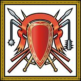 Medieval shield, spears, ribbon and swords Stock Images