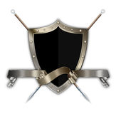 Medieval shield with spears and ribbon. Stock Images