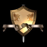 Medieval shield with sword and gold ribbon. Stock Image