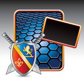 Medieval shield and swords on blue hexagon banner Stock Photography