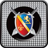 Medieval shield and swords checkered web button Royalty Free Stock Photo
