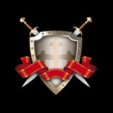 Medieval shield with two swords and red ribbon. Stock Photos