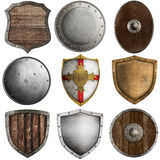 Medieval shields collection isolated on white Stock Image