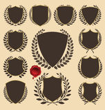 Medieval shields and laurel wreath collection Stock Images