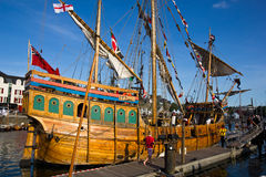 Medieval ship. Old galleon docking in the port of idyllic little town Vannes, Brittany, France Royalty Free Stock Image