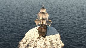 A medieval ship sailing in a vast blue ocean. The concept of sea adventures in the Middle ages.