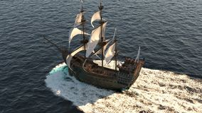 A medieval ship sailing on a vast blue sea. Concept of sea adventures in the Middle ages.