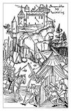 Medieval siege of a fortified castle. Medieval siege with gun of a fortified castle, XV century illustration Stock Photo