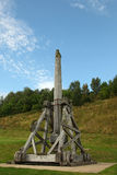 Medieval siege machine. On the battlements of the citadel  of the Urquhart Castle - Scotland Stock Photo