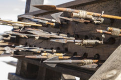 Medieval siege weapons, crossbows, onagers, catapults and batter Royalty Free Stock Photography