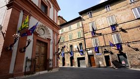 Medieval siena. Italy, Tuscany, Wonderful Old Palace and Tourists stock video footage