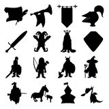 Medieval silhouettes icons set. For web and mobile devices Stock Photos
