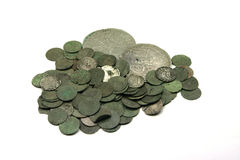 Medieval silver coins. Medieval european silver coins of XVII c royalty free stock photo
