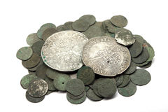 Medieval silver coins. Medieval european silver coins of XVII c stock image