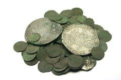 Medieval silver coins. Medieval european silver coins of XVII c royalty free stock photos