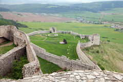 The medieval Slovakian Spis Castle. The walls of medieval Slovakian Spis Castle stock photo