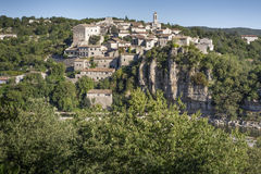 The medieval small town of Balazuc, France Stock Photography