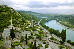 Medieval small town Pocitelj - view from above Stock Photos