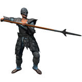 Medieval Soldier. Armoured Spearman, medieval soldier at the ready, 3D render illustration Royalty Free Stock Images