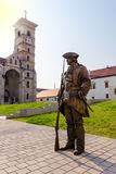 Medieval soldier bronze statue Royalty Free Stock Photo