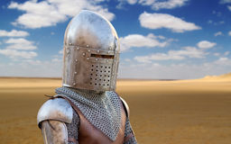 Medieval Soldier in the Desert Royalty Free Stock Image