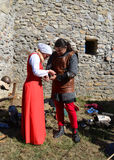Medieval soldier and woman Royalty Free Stock Photos