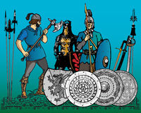 Medieval soldiers. And weapons. Additional  format Illustrator 8 eps Royalty Free Stock Photography