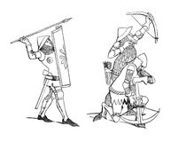 Medieval soldiers. Vintage illustration of Medieval soldier and archers. Originally published in swedish book Historisk asebok published in 1882. The image is Stock Photography