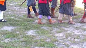 Medieval soldiers marching stock video footage