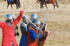 Medieval soldiers are ready to fight Royalty Free Stock Photo