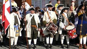 Medieval soldiers on the street. Timisoara, Romania 3 stock footage