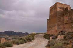 Medieval Spanish fortress. Exterior of ruined medieval fortress in Spanish countryside Stock Photos
