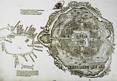 Medieval spanish map of Mexico City. And gulf coast. Photo from old reproduction stock image