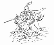 Medieval spear knight on horse. Ink illustration. Royalty Free Stock Photo