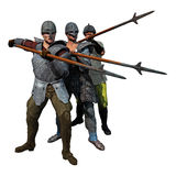 Medieval Spearmen. 3D render of three armoured soldiers at the ready Royalty Free Stock Photos