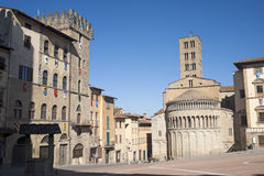 Medieval square in Arezzo (Tuscany, Italy) Stock Photography