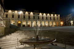 Medieval square in Arezzo (Tuscany) at night Royalty Free Stock Image