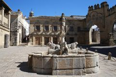 Medieval square of Baeza in Andalusia Spain. A medieval plaza of Baeza in Andalusia Spain. This tuistic place and the city of baeza in general makes the visitor Stock Image