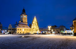 Medieval square of Brasov in Christmas days, Romania Royalty Free Stock Photography