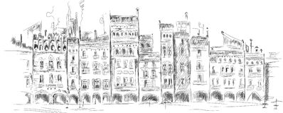 Medieval square front, handmade sketch Royalty Free Stock Image