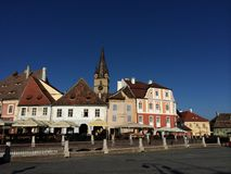Medieval square. Piata mica (Small square) in Sibiu old town Royalty Free Stock Photos