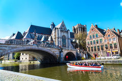 Medieval St. Michael Bridge, church and canal in Ghent, Belgium Royalty Free Stock Photography