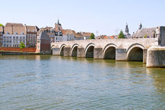 Medieval St. Servatius bridge. Over the river Meuse. Built from 1280 - 1298, Maastricht, The Netherlands Stock Photos