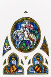 Medieval stained glass depicting St. George killing the dragon royalty free stock images